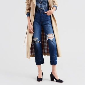 Levi's 501 Released Raw Hem Cropped Jeans 31 x 28
